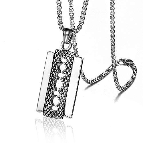 Anhänger Halskette Hip Hop Rock Titan Edelstahl RasierklingeAnhänger & Halskette Für Männer Friseur Schmuck Gold Silber Farbe Silber