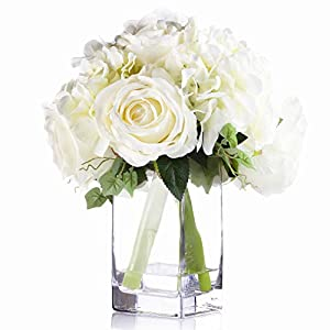 Enova Home Mixed Rose and Hydrangea Silk Flower Arrangement in Glass Vase with Faux Water for Home Weddnig Centerpiece (Cream)