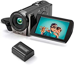 HAOHUNT Video Camera Camcorder, Full HD 1080P 15FPS 24MP Digital Camera Recorder, 3.0 Inch 270 Degree Rotation LCD Screen 16X Digital Zoom Anti-Shake Vlogging Video Recorder with Battery, Black