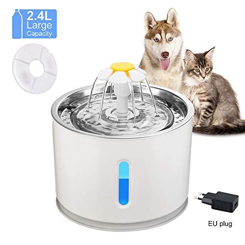 Konesky Katzen-Trinkbrunnen Edelstahl, IP68 Wasserdichter Katzen-Trinkbrunnen Besonders leiser Wasserstand 2,4 l mit LED-Anzeige Automatischer Wasserspender für Hunde mit Ersatzfilter Filter