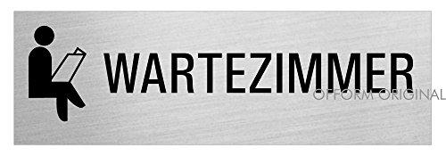 Schild Wartezimmer | Türschild Aluminium Edelstahloptik | 240 x 80mm | vollflächig selbstklebend | Ofform Design | Nr.26018-S