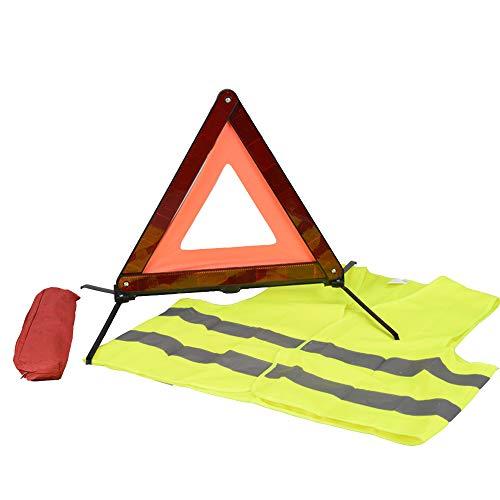 AYKRM Warndreieck Euro mit Aufbewahrungsbox, ECE Zertifiziert -Notfalldreieck- Sicherung von Unfall- und Gefahrenstellen (ROT2)