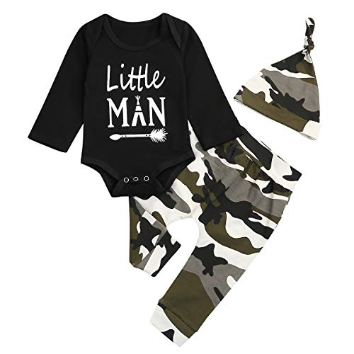 Baby Boy Camouflage Kleidung Set Infant Brief Print Strampler + Hosen Hut Neugeborenen Body Outfit Set (Schwarz-2, 12-18M)