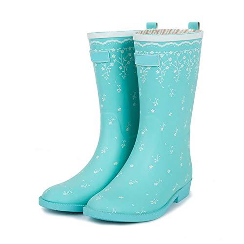 LINGZE Bota de Lluvia de Goma Antideslizante, Zapatos de Agua de Granero para Damas, Calzado Lindo y Ligero