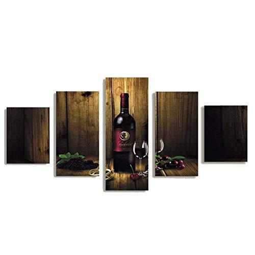 AWER 5 Piezas Cuadro en Lienzo Vino Modernos Lienzo Decorativo para Pared, Cuadros Decoracion para Pasillo Salon dormitorios XXL 80x150 cm con Marco