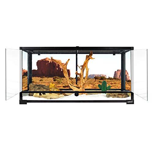 "REPTI ZOO Reptile Glass Terrarium Tank Double Hinge Door with Screen Ventilation Large Reptile Terrarium 36"" x 18"" x 18""(Knock-Down)"