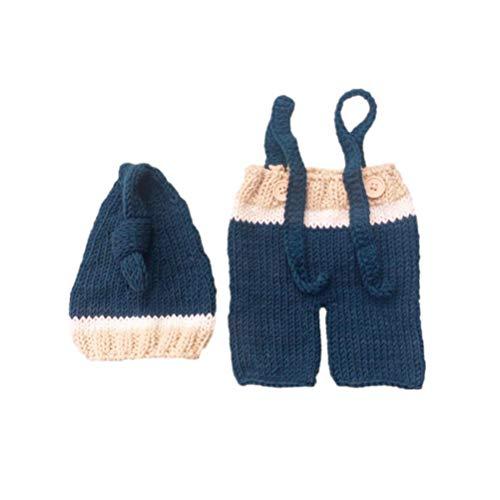 Holibanna Conjunto de accesorios para fotos de bebés recién nacidos mensuales pantalones de gorro de punto de ganchillo para sesión de fotografía de niñas y niños (0-3 meses)