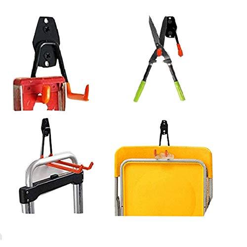 LAJIAOZ 2Pcs Orange Garage Storage Utility L Hooks,Heavy Duty Wall Mount Garage Organizer/Hanger ,Garage Garden Tool Organizer for Hoses,Bike,with Premium Steel to Hang Heavy Tools for Up to 50lbs