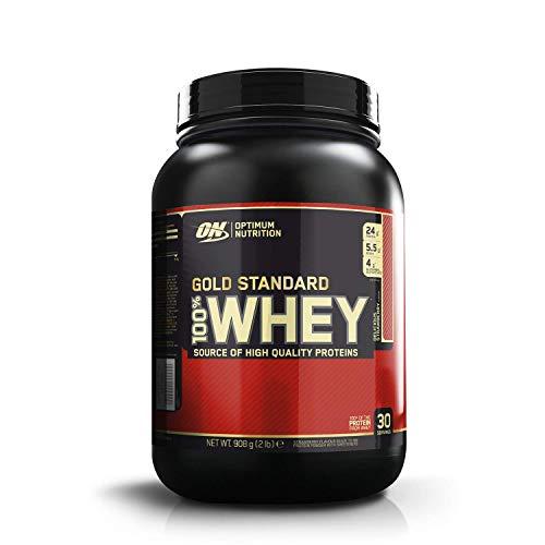 Optimum Nutrition ON Gold Standard Whey Protein Pulver, Eiweißpulver zum Muskelaufbau, natürlich enthaltene BCAA und Glutamin,, Delicious Strawberry, 30 Portionen, 900g, Verpackung kann Variieren