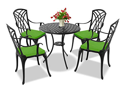 Centurion Supports OSHOWA Garden & Patio Table & 4 Large Chairs with Armrests Cast Aluminium Bistro Set - Green cushions
