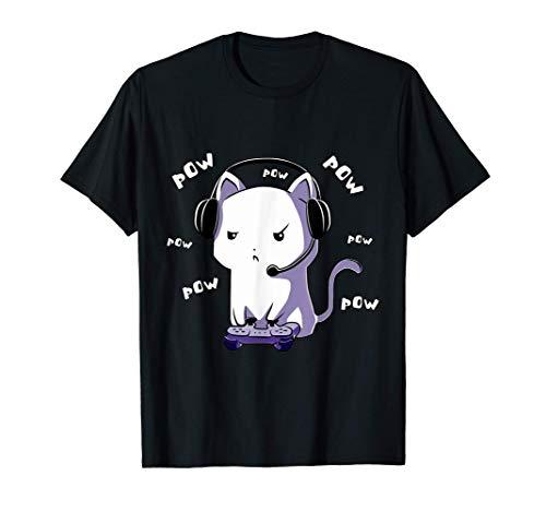 ゲーマー ゲーム ネコ 捕虜 捕虜 ビデオ ゲーム ゲーム コンピューター Pc かわいいゲーミングオタク猫 Tシャツ