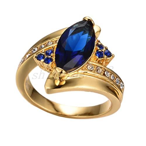 Zgoo Vintage Hembra Azul cristalina de Piedra joyería con Encanto Color Oro Anillos de Bodas Delgadas para Las Mujeres Anillo de Compromiso de la Hoja de Lujo