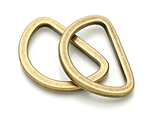 CRAFTMEMORE D Rings Purse Loop Flat Metal 5/8, 3/4, 1 Inch D-Ring Heavy Duty Findings for Bag Belt Strap Webbing Craft 10 Pack PTDF (1 Inch, Antique Brass)