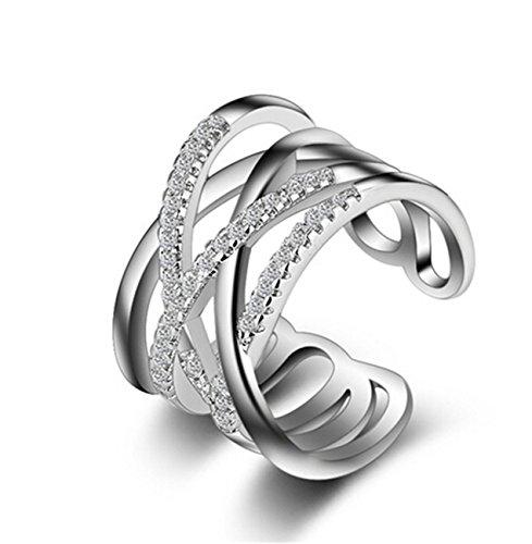 Boowhol - Anillo para mujer de plata fina 925, diseño de puntos, hipoalergénico, ajustable, doble anillo