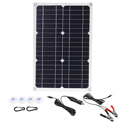 Frieed 50W 18V mononucleosis Panel Solar Dual USB 12V / 5V DC Monocristalino Cargador Solar Flexible para Coche RV Batería Cargador Cargador Impermeable Durable