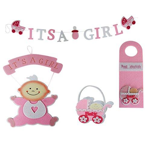 Annastore 4-TLG. Deko- und Geschenkset Baby Its A Girl - Wanddeko Kinderzimmerdeko Mädchen Geburt Willkommensgirlande