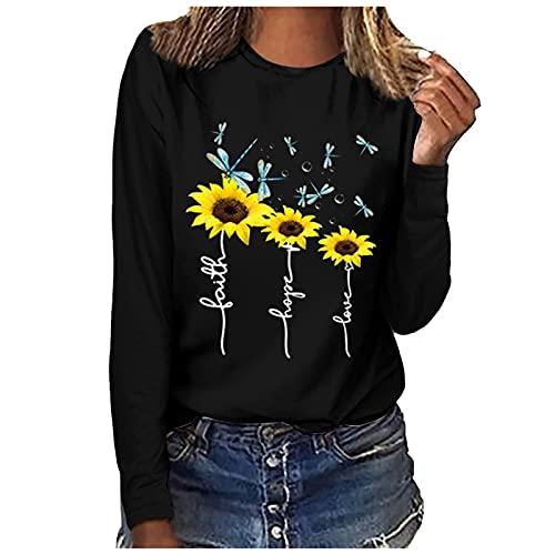 Camiseta de manga larga para mujer, blusa de moda, blusa, túnica, estampada, cómoda, blusa brillante, Negro , XXL