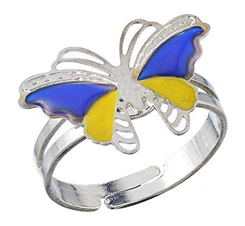 KIRALOVE Ring - magischer Ring - stimmungsring - Symbol - Schmetterling - Farbe ändern - modeschmuck - größe ändern - Frauen - mädchen Mood Ring
