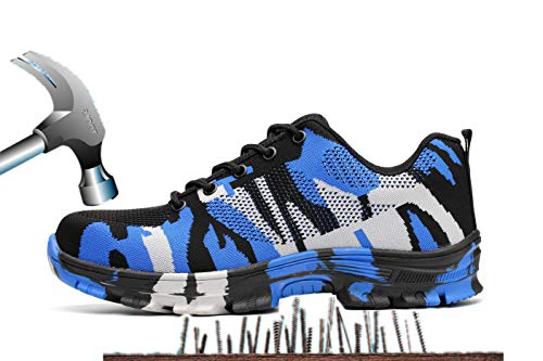 Ansel-UK Herren Arbeitsschuhe Leicht Atmungsaktiv Anti-Smash Puncture-Proof Zwischensohle S3 Sicherheitsschuhe mit Stahlkappe Berufsschuhe Handwerk Schuhe Turnschuhe Wanderhalbschuhe Stiefel