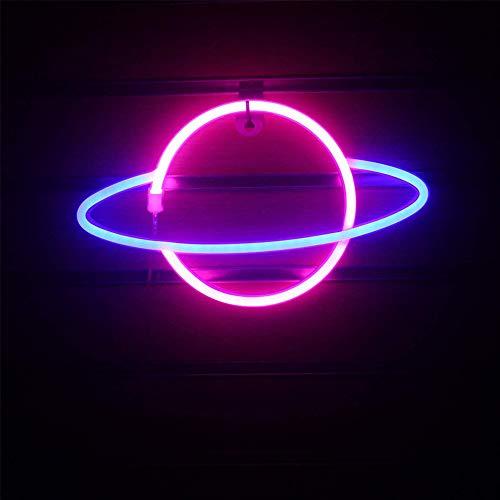 Planet Neon Signs LED Planet Licht, Dekorative 3D Lampe Lichter Neonlichter Beleuchtung Nachtlichter für Zimmer Wand Kinder Schlafzimmer Wohnzimmer Hochzeit Party Decor 18x30cm