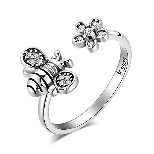 JIARU 925 Sterling Silver Ring for Women Adjustable ring fashion simple ring and little bee diamond rings for Girl Open Finger Ring Gift