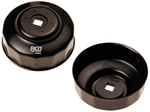 BGS 1046 | Ölfilterschlüssel | 14-kant | Ø 76 mm | für VW, Porsche, Mercedes-Benz, BMW, Audi, Opel | schwarz lackiert