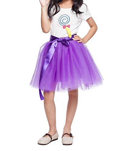 Little Girl Tutu Skirt A Line 7 Layers Tulle Skirt Party Princess Dance Tutus for Girls (3T -10T) Purple