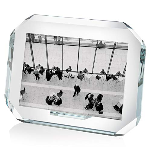 OMODOMO - Marco de cristal para fotos de 18 x 13 cm, hecho a mano en Italia, portafotos de mesa ocho, idea regalo único para aniversario, boda, graduación, bodas de oro y ocasiones especiales.