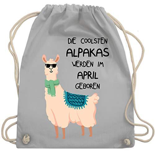 Shirtracer Geburtstag - Die coolsten Alpakas werden im April geboren Sonnenbrille - Unisize - Hellgrau - beutel alpaka - WM110 - Turnbeutel und Stoffbeutel aus Baumwolle