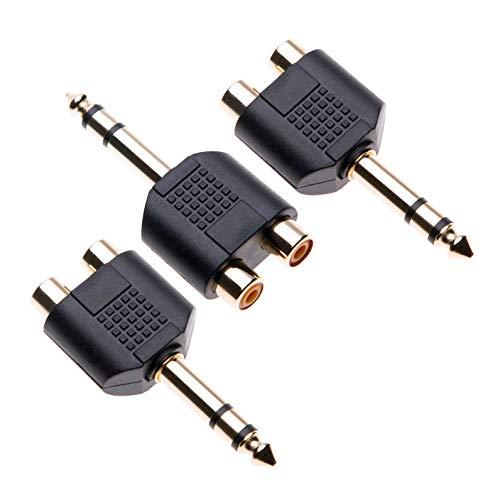 6,35 mm auf Cinch Adapter von Keple, 2x Cinch Buchse Kupplung Weiblich auf 1x 6,3mm Stereo Klinke Stecker Männlich, Doppel RCA Phono Y Verteiler Audioadapter (3 Stück)