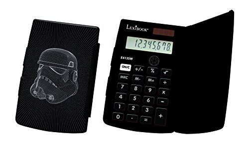 Lexibook E413SW - Calcolatrice Tascabile Disney Star Wars, Design Darth Vader, 8 cifre, Funzioni Tradizionali e avanzate, Scuola elementare, Protezione Protettiva, Nero