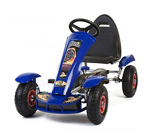fit4form Kinder Go Kart Super Blue Race Machine Tretauto Gokart Luftreifen 5-12 Jahre