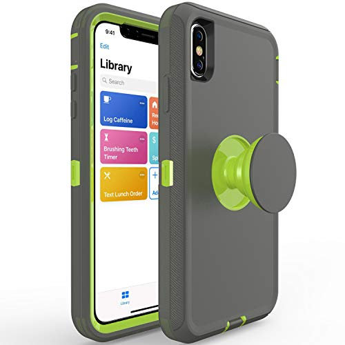 iPhone Xs/X Stand case,Hisri Shockproof Drop Protection Dual Layer 2 in 1 Hybrid Soft Rubber Bumper Covers Hard PC Protective Case Compatible for iPhone Xs/X/10 (Dark Gray + Green, 5.8'' iPhone Xs/X)