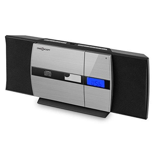 oneConcept V-15 Equipo de música - Minicadena estéreo , Bluetooth , CD Compatible con MP3 , LCD , USB , Radio FM , Despertador , Montaje Pared , Compacto , Aluminio , Negro-Plateado