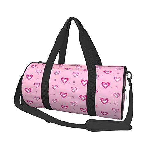 MBNGDDS Bolsa de viaje con forma de corazón, ligera, plegable, impermeable, con correa para el hombro, bolsa de deporte para hombres y mujeres