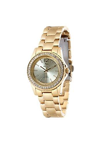 Ref. B54004/3 Reloj Marea Señora, analógico, caja y brazalete acero dorado, bisel con zirconitas, sumergible 30 metros, garantía 2 años.