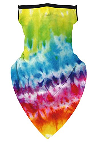 Tie Dyed Psychedelic Triangle Bandana Style Face Cover Mask Neck Gaiter with Ear Loops. Made from 100% Polyester Microfiber