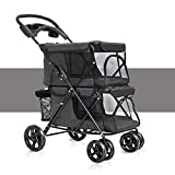 Zhen GUO Pet Trolley Easy Folding Double Dogs Big Space Carts Four Rounds of Outdoor Travel Supplies, Pet Carrier Pet Stroller for Cats/Dogs with with Removable Liner, Storage Basket + Cup Holder