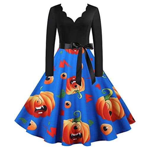 Mirlise Women 50s Dresses Vintage Long Sleeve Halloween Housewife Evening Party Prom Dress Blue