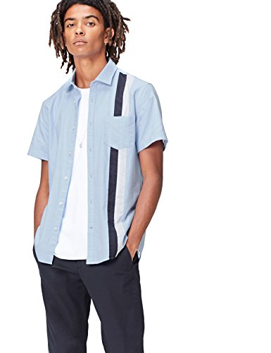 Marca Amazon - find. Camisa Hombre, Azul (Blue), S, Label: S