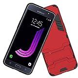 Ycloud Armadura Funda para Samsung Galaxy J7 2016 J710 Smartphone, Heavy Duty Doble Capa Híbrida Robusta Pesada Funda Antigolpes PC Duro Caso con Soporte (Rojo)