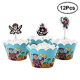 STOBOK 24 Stück Serie Pirat Cupcake Wrappers Toppers Sets für Geburtstagsfeier Baby Shower Decoration