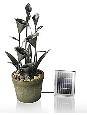 Small Solar Powered Water Feature Metal Spouts and Pools PC105