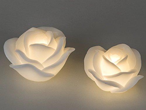 formano LED Kerze Rose weiß Wachs 620910 620903 Dekoration Geschenkidee, Größe:11 cm