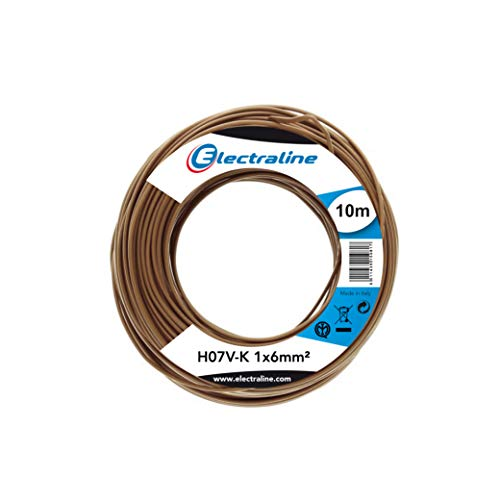 Electraline 15291, H07V-K Cable, Sección 1x6 mm, 10m, Marron