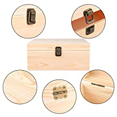 ADXCO 3 Pack Unfinished Wood Treasure Chest Decorative Wooden Box Pine Wood Box with Locking Clasp for Crafts, Art, Hobbies, Projects, Jewelry Box and Home Storage #3