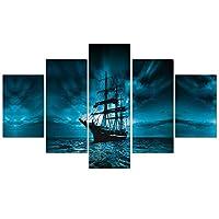 5パネル海ビューキャンバスポスター海賊船HD印刷現代絵画モジュラー画像壁アートポスターフレームリビングルーム家の装飾,+frame,L