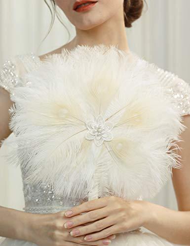 Coucoland Ramo de flores con plumas para boda, novia, dama de honor, ramo de los años 20, abanico de mano, accesorios para mujer de los años 20, disfraz Gatsby Blanco, estilo 9. Talla única