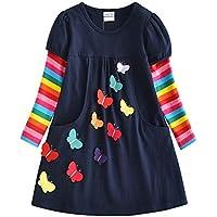 VIKITA Vestidos T-Shirt Manga Larga Algodón Casual Niñas lh5805 3T