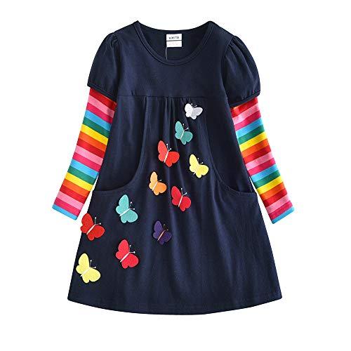 VIKITA Mädchen Kleider Streifen Langarm Baumwolle Herbst Winter T-Shirt Kleid, Mehrfarbig LH5805, 7-8 Jahre (128cm)